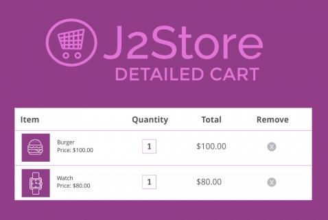 J2Store Detailed Cart